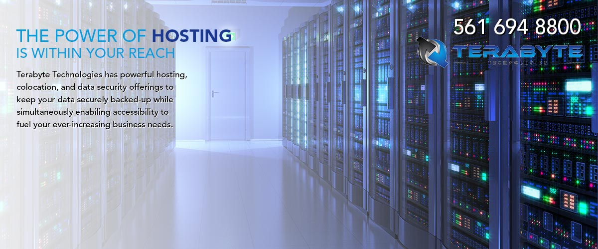 The power of hosting is within your reach. Terabyte Technologies has powerful hosting, colocation, and data security offerings to keep your data securley backed-up while simultaneously enabling accessibility to fuel your ever increasing business needs.Call Terabyte Technologies at 561-694-8800.